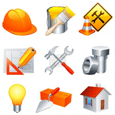 Photo for Set of 9 construction and building icons. - Royalty Free Image