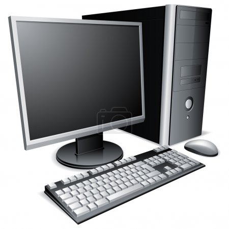 Illustration for Desktop computer with lcd monitor, keyboard and mouse. - Royalty Free Image