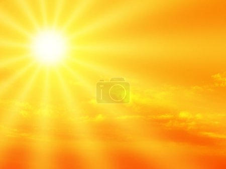 Photo pour Sunbeam et dramatique ciel orange. - image libre de droit