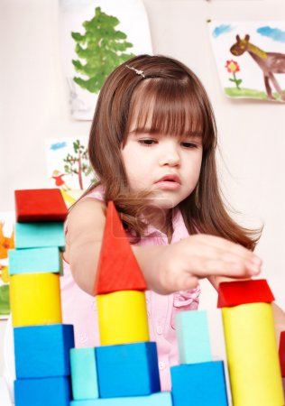 Photo for Child playing block in play room. Preschool. - Royalty Free Image