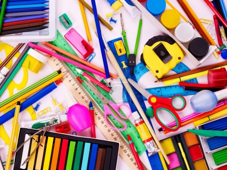 Photo for Background of group school supplies. - Royalty Free Image
