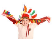 Fun boy in costume of indian.