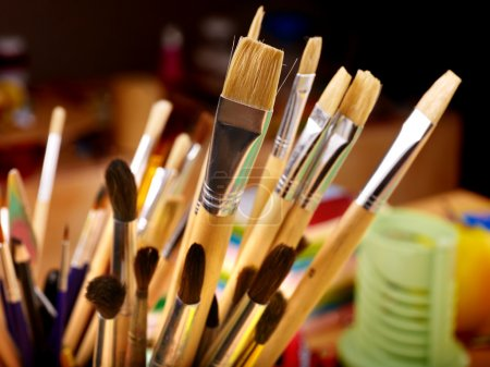 Photo for Close up of group art brush supplies. - Royalty Free Image
