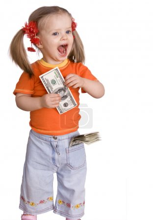 Baby girl with dollar banknote.