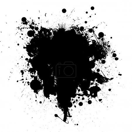 Abstract black ink grunge splat with room for your text