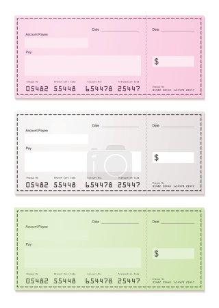 Illustration pour American chèque feuille de papier de paiement avec de la place pour ajouter vos propres montants - image libre de droit