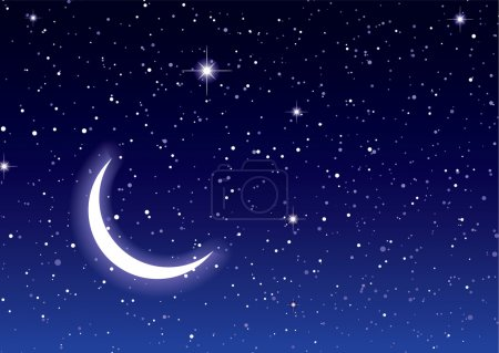 Photo for Nights sky with moon and stars ideal desktop or background - Royalty Free Image
