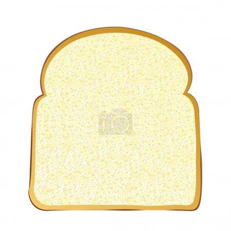 Illustration pour Tranche unique de pain blanc complet avec croûte - image libre de droit