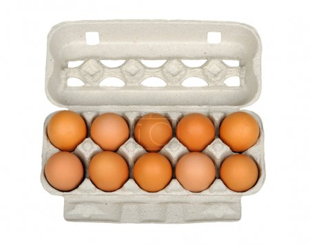 Photo for Dozen eggs in a carton box isolated on white - Royalty Free Image