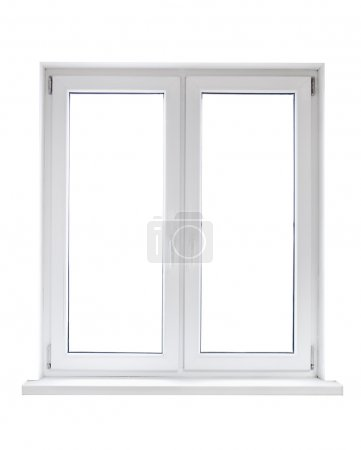 Photo for White plastic double door window isolated on white background - Royalty Free Image