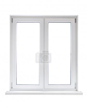 Photo pour Fenêtre double porte en plastique blanc isolé sur fond blanc - image libre de droit