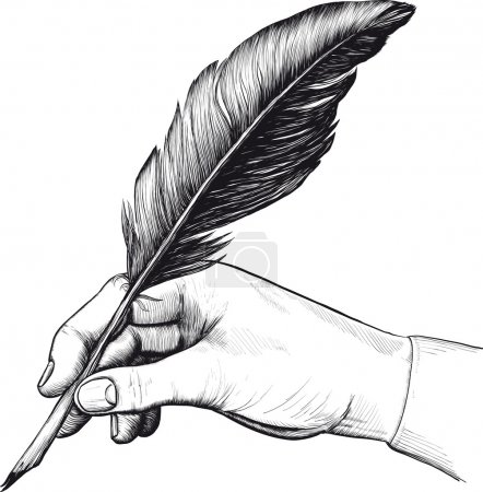 Illustration for Vintage drawing of hand with a feather pen in style of an engraving - Royalty Free Image