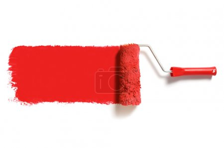 Photo for Roller brush with red paint - Royalty Free Image