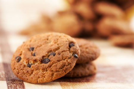 Photo for Cookies with chocolate closeup - Royalty Free Image
