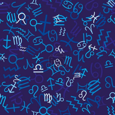 Illustration for Blue seamless pattern with zodiac icons, vector illustration - Royalty Free Image