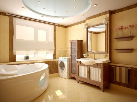Photo for Modern interior of a bathroom (3d rendering) - Royalty Free Image