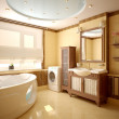 Modern interior of a bathroom (3d rendering)...