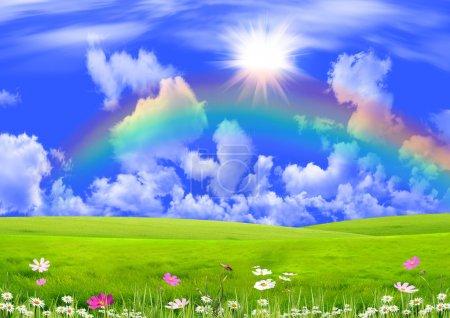 Photo pour Arc-en-ciel dans le ciel bleu foncé sur une clairière d'été - image libre de droit
