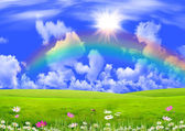 Rainbow in the dark blue sky