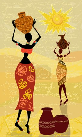 Illustration for Landscape with an African woman decorative - Royalty Free Image