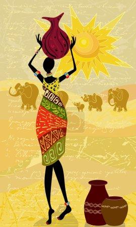 Illustration pour Paysage avec une femme africaine décorative - image libre de droit