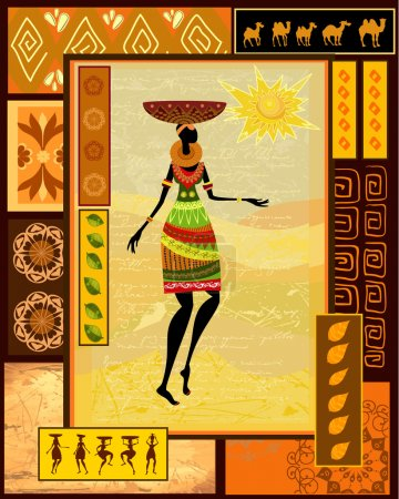 Illustration for African girl dressed in a decorative - Royalty Free Image
