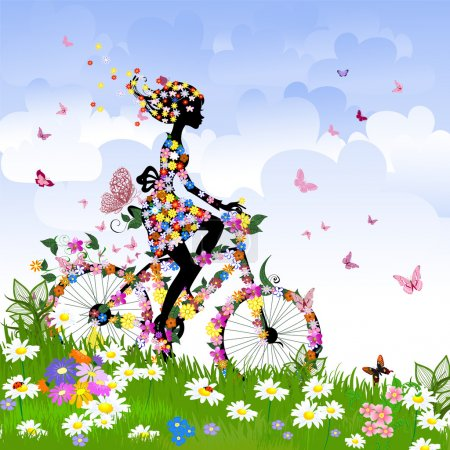 Illustration for Girl on bike outdoors in summer - Royalty Free Image