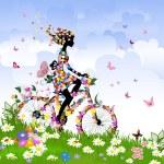 Girl on bike outdoors in summer...