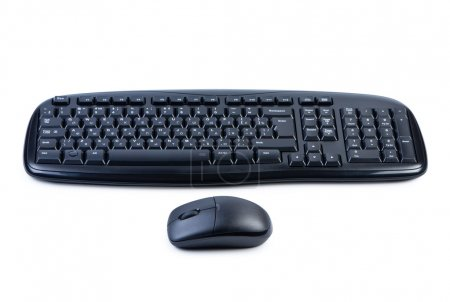 Photo for Computer keyboard and mouse isolated on white background shadow below. - Royalty Free Image
