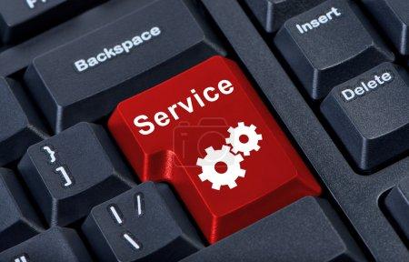 Photo pour Bouton rouge service internet concept . - image libre de droit