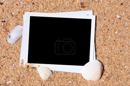 Empty photo on background beach sand.