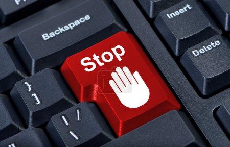 Photo pour Clavier d'ordinateur stop bouton avec l'icône de main. - image libre de droit