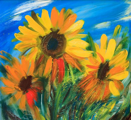 Photo for The sunflowers drawn by oil on canvas - Royalty Free Image