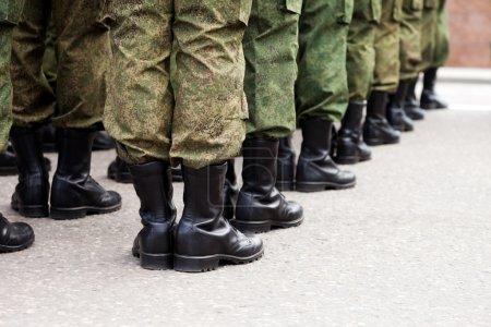 Military uniform soldier row