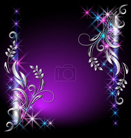 Illustration for Glowing background with stars and silver ornament - Royalty Free Image