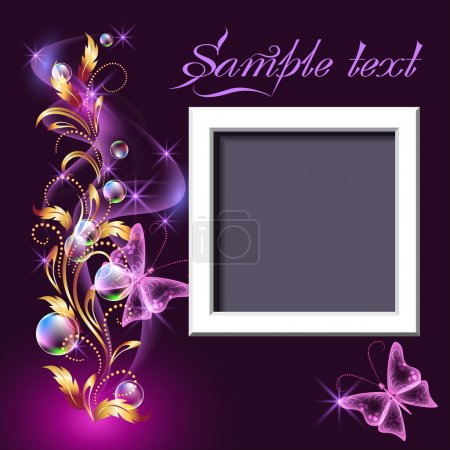 Page layout photo frame with golden ornament