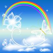 Rainbow, květina a motýl