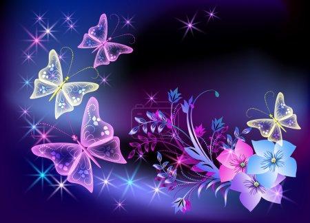 Illustration pour Fleurs, étoiles et papillons transparents rayonnants - image libre de droit