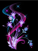Glowing background with flowers and stars