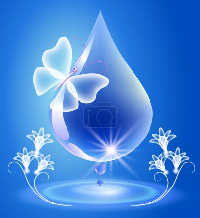 Illustration for Drop, butterfly and flowers. Symbol of clean water. - Royalty Free Image