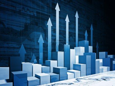Foto de Buena imagen en 3d de carta de negocios financieros - Imagen libre de derechos