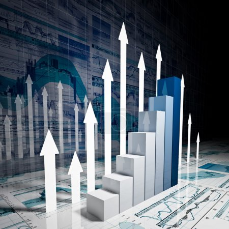 Photo for Fine 3d image of business finance chart - Royalty Free Image