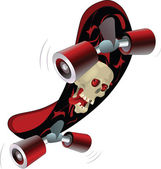 Skate board with a skull Cartoon