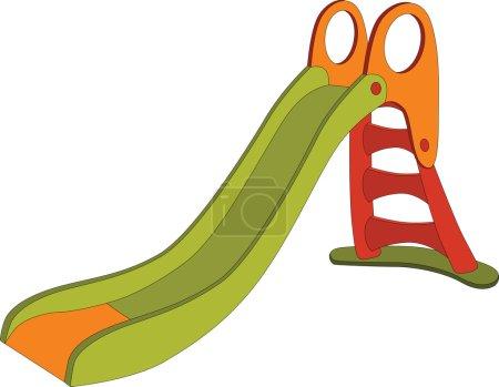 Illustration pour Enfants balancer une colline Aire de jeux de dessin animé - image libre de droit