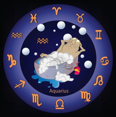 Illustration for Zodiac signs The Aquarius Cartoon cat astrology - Royalty Free Image