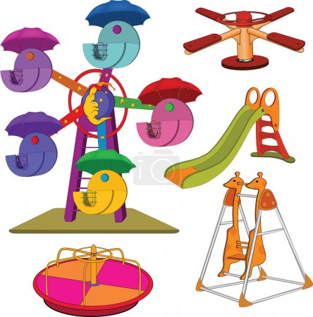 The complete set a children's swing. Cartoon