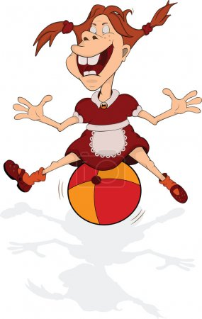 The cheerful smiling girl plays with a ball. Cartoon