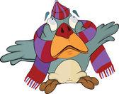 Ptáček, vrabec v čepici a šálu. kreslený