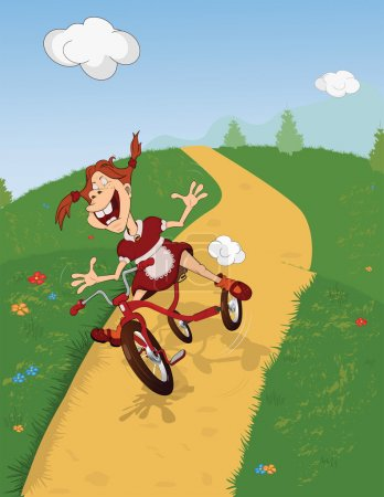 Illustration for The cheerful girl goes for a drive on a bicycle Cartoon Comic book - Royalty Free Image