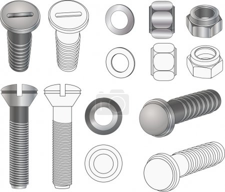 The complete set bolts and nuts . Clip-Art